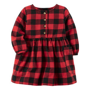 Carters Flannel Plaid Dress Baby Girl Holiday Red